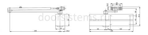 Габаритные размеры доводчика Abloy DC200