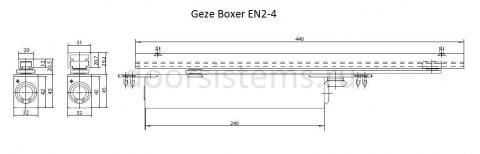 Габаритные размеры доводчика Geze Boxer EN2-4