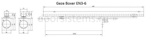 Габаритные размеры доводчика Geze Boxer EN3-6