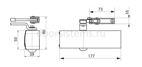 Габаритные размеры доводчика Geze TS1500 со складным рычагом