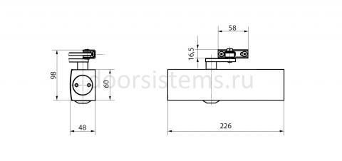 Габаритные размеры доводчика Geze TS2000 VBC