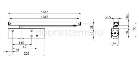 Габаритные размеры доводчика Geze TS3000