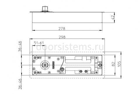 Габаритные размеры напольного доводчика Geze TS500