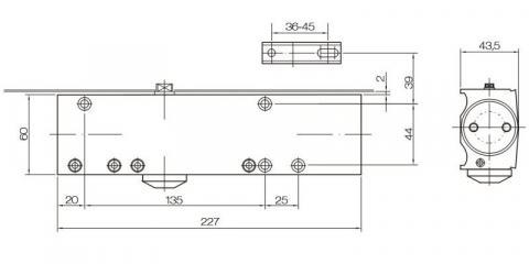 Габаритные размеры доводчика DoorLock DL-200
