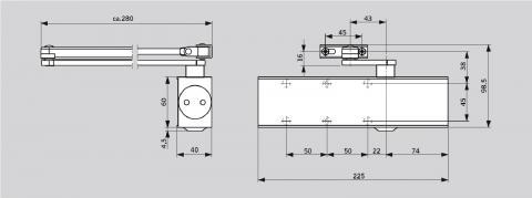 Размеры доводчика DORMA TS-73V со стандартным рычагом