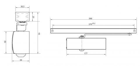 Габаритные размеры доводчика Geze TS1500G со скользащим каналом