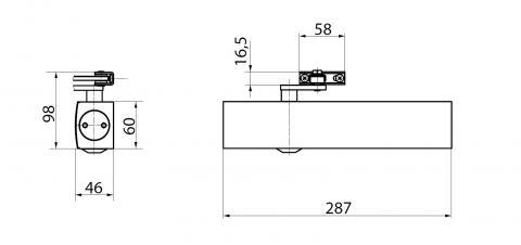 Габаритные размеры доводчика Geze TS4000