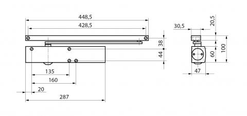 Габаритные размеры доводчика TS5000