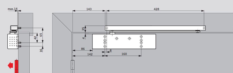 Размеры установки доводчика dormakaba TS-92 на полотне двери со стороны петель